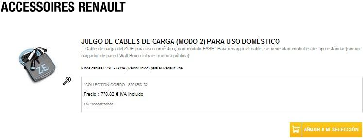 cable recarga 230v renault zoe