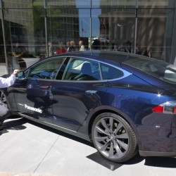 El coche de empresa en Panasonic, un Tesla Model S