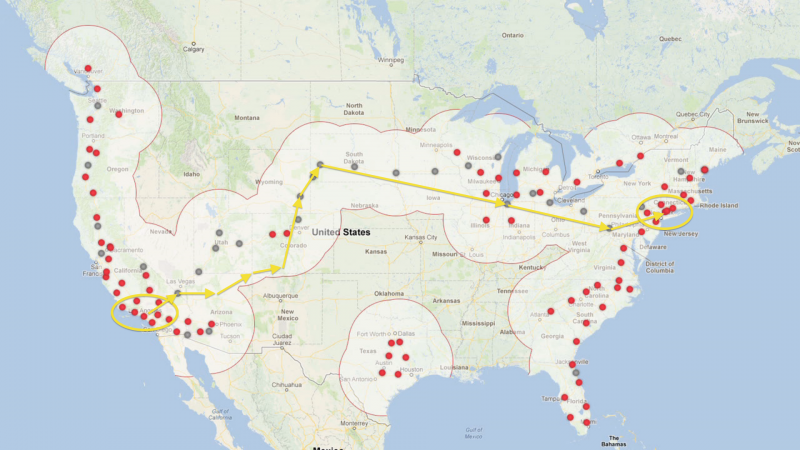 tesla superchargers route
