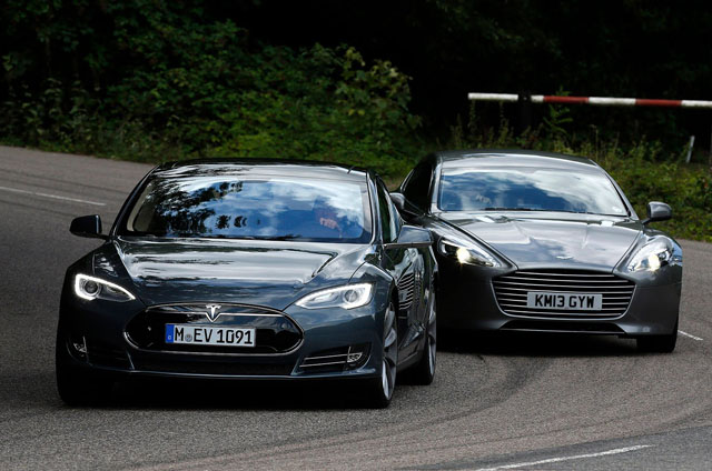 tesla model s vs aston martin rapide s