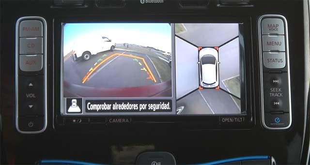 Cámara 360 grados del Nissan LEAF. Vista delantera, trasera y lateral.