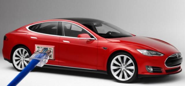 Un puerto de red en el Tesla Model S