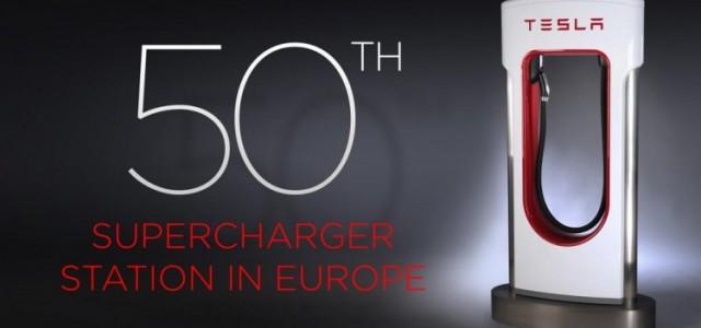 Tesla inaugura el supercargador 50 en Europa