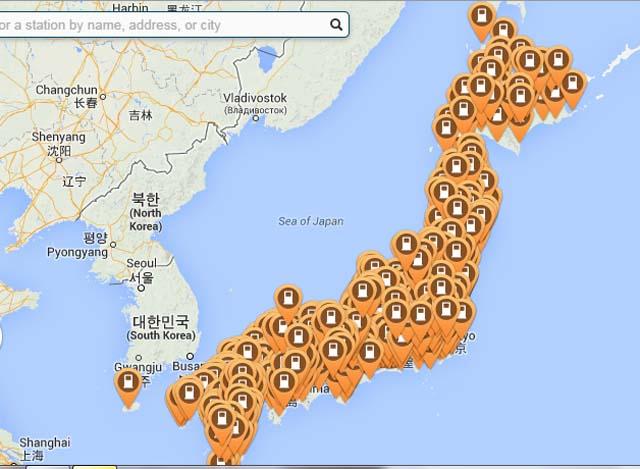 ¿Donde está Japón? Debajo de los casi 2 mil puntos CHAdeMO