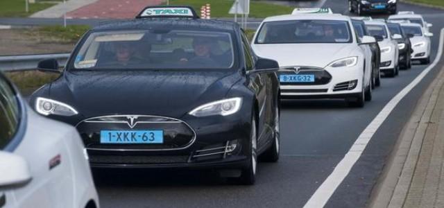 El aeropuerto de Amsterdam estrena su nueva flota de taxi formada por 167 Tesla Model S