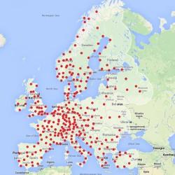 Nueva actualización del mapa de supercargadores de Tesla en Europa