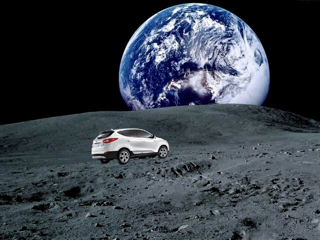 HYUNDAI TUCSON FUEL CELL DRIVERS FROM SOUTHERN CALIFORNIA ACCUMULATE SUFFICIENT MILEAGE TO REACH THE MOON EMISSIONS-FREE