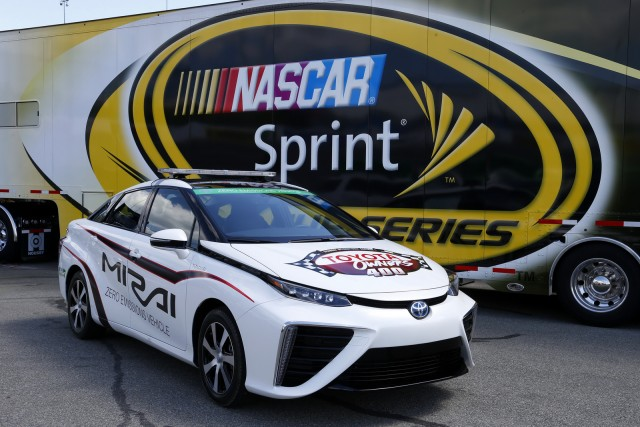 24-25 April, 2015, Richmond,Virginia USAThe 2016 Toyota Mirai hydrogen fuel cell vehicle was tested by Buster Auton, director of transportation for NASCAR, at Richmond International Raceway on Thursday, April 23. NASCAR approved the Mirai to pace Saturday night's Toyota Owners 400 NASCAR Sprint Cup Series race after a 15-minute test session. Former NASCAR driver Brett Bodine, who serves as the Sprint Cup Series pace car driver, will pilot the Mirai during the NASCAR Sprint Cup Series race in Virginia.©2015, Lesley Ann MillerCourtesy of Toyota Racing