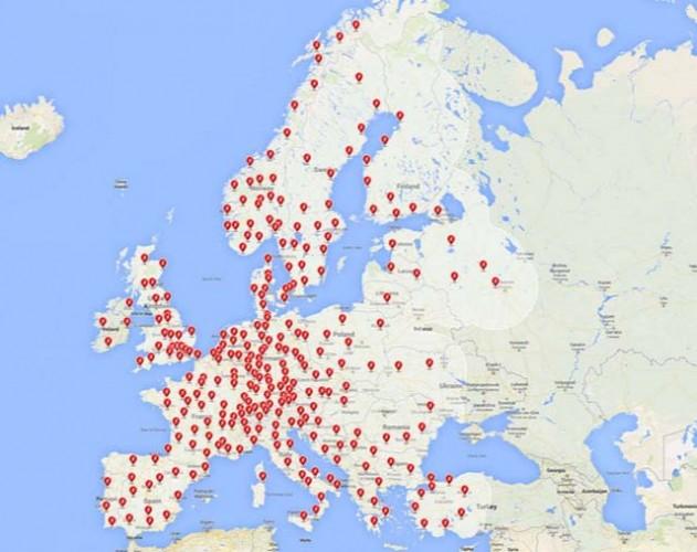 Mapa de los Supercargadores para 2016