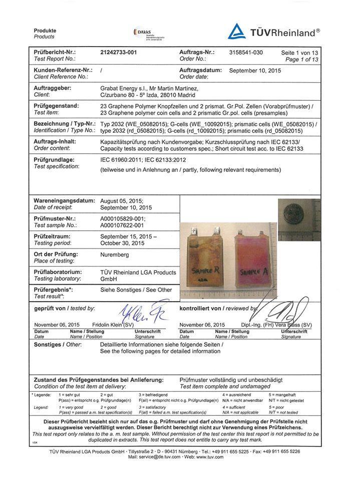 Certificado TUV Graphenano