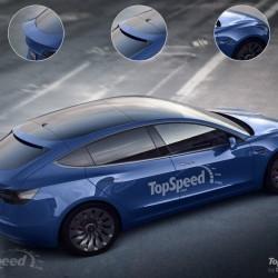 Render del Tesla Model 3 con portón trasero