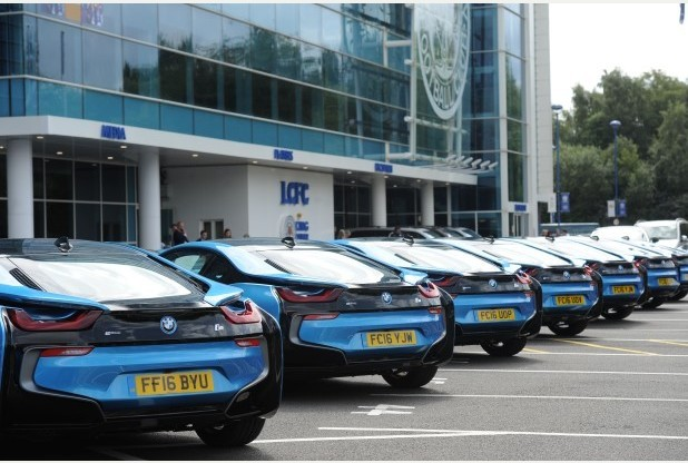 CARS AT lCFC. aLL PLAYERS GET A NEW bmw I8.PICTURE Beth Walshcopyright