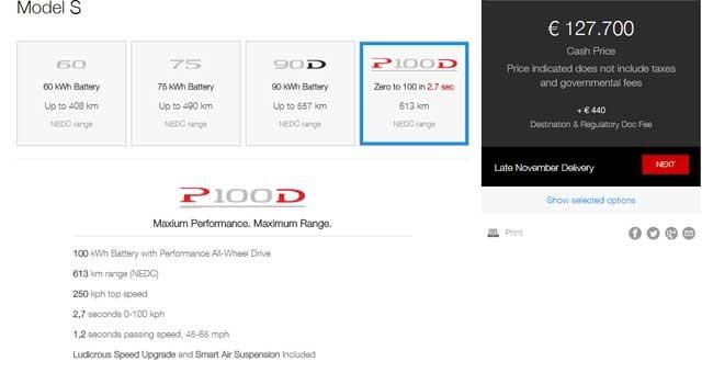 Model s p100d precios
