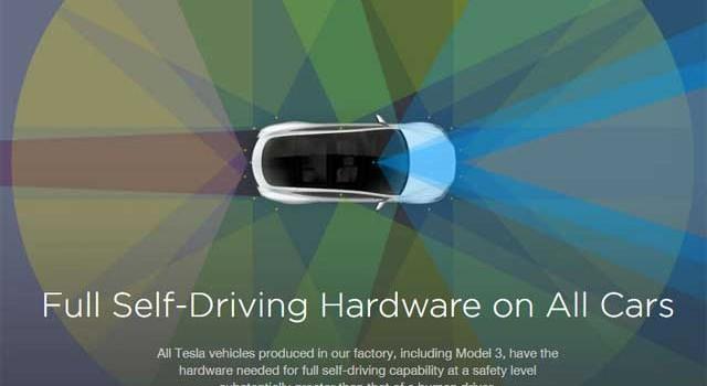 Todos los modelos de Tesla estarán dotados del sistema de conducción autónoma de fábrica, incluyendo el Model 3