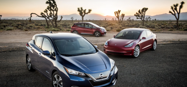Primera prueba comparativa entre el Tesla Model 3, el Nissan LEAF y el Chevrolet Bolt