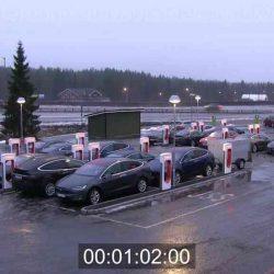 Vídeo a alta velocidad de la actividad en un Supercargador de Tesla en Noruega