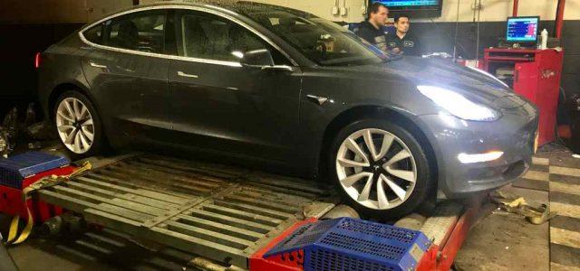 La primera prueba del Tesla Model 3 en un dinamómetro da una potencia máxima de 399 CV