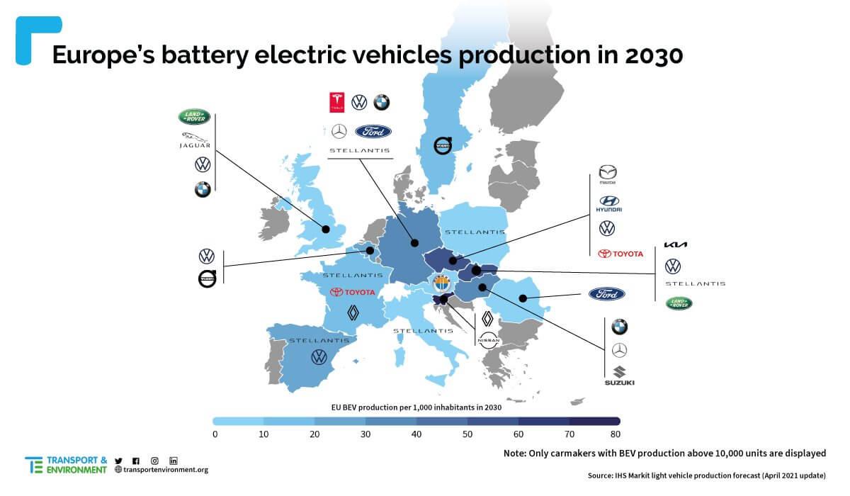 mapa produccion de baterias coches electricos Europa 2030