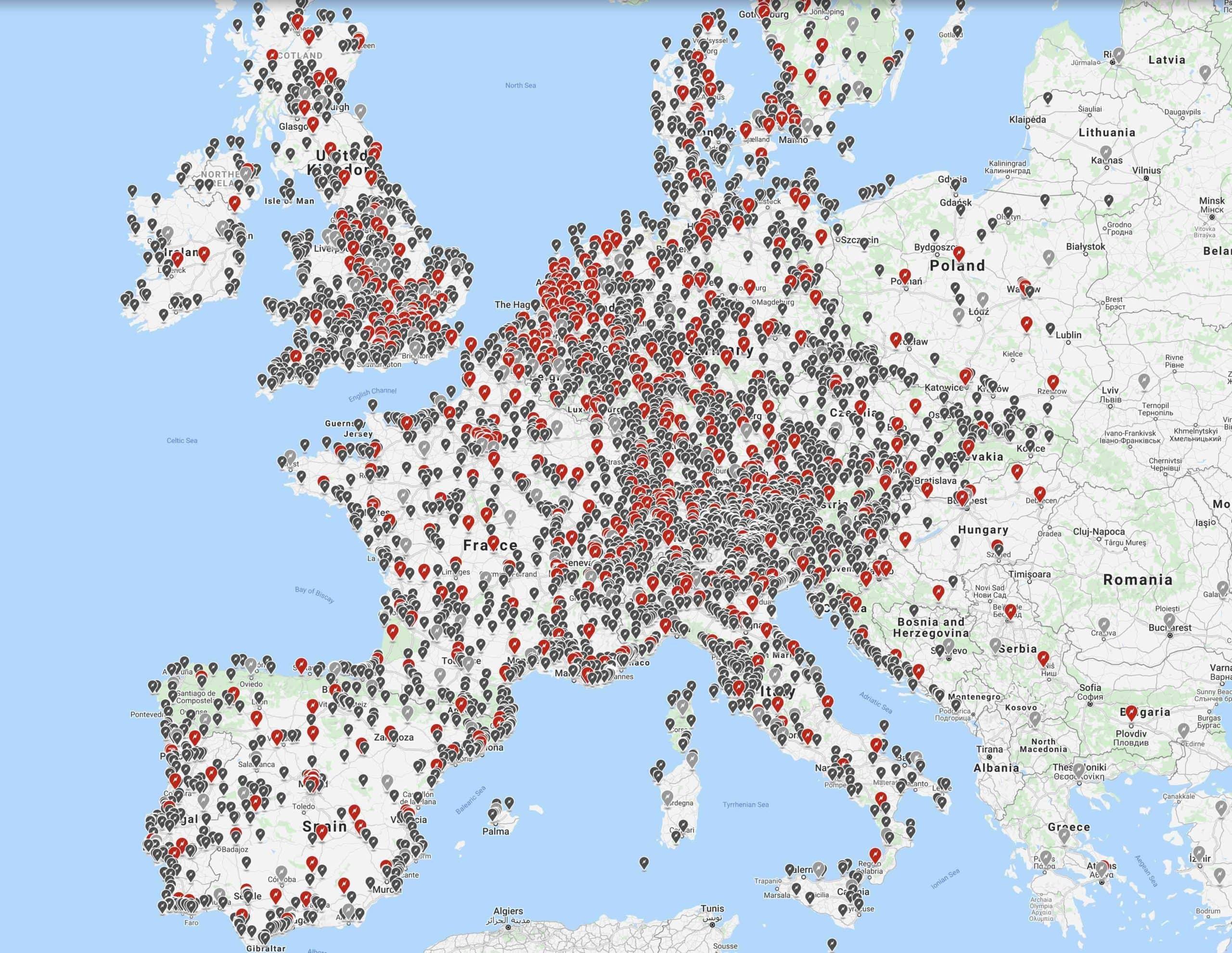 Localización de vehículos eléctricos en Europa