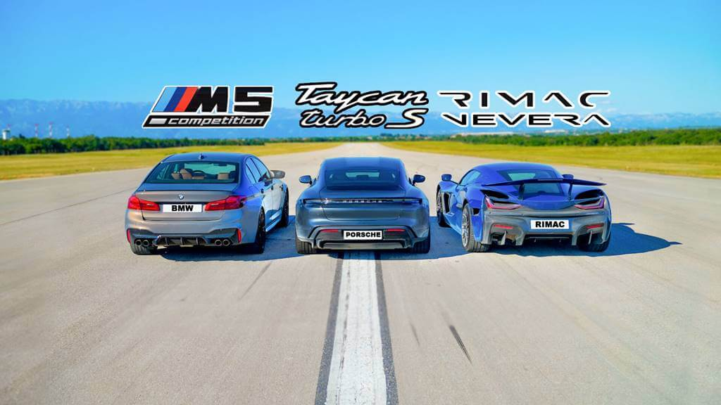 Rimac Nevera contra Porsche Taycan y BMW M5