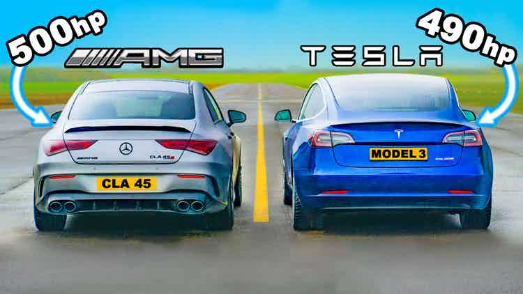 prueba de aceleracion mercedes-amg-cla-45-v-tesla-model-performance